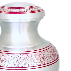 Red Engraved Birds Flying Cremation Keepsake Urn