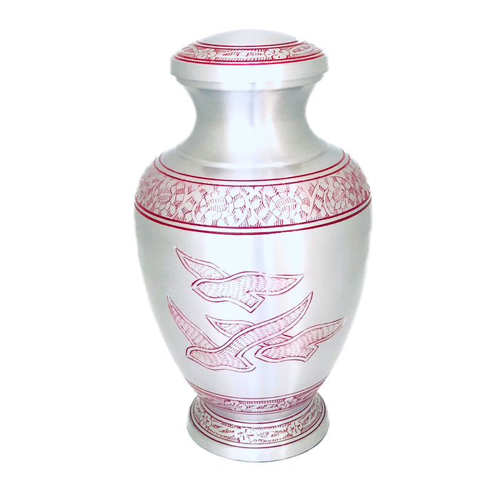 Red Engraved Birds Flying Cremation Keepsake Urn (set of 4)