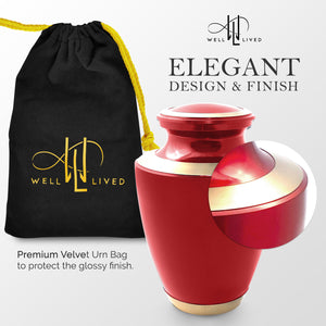 Red Glossy Cremation Urn