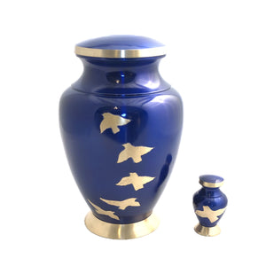 Blue Glossy Birds Flying Cremation Keepsake Urn