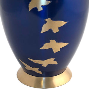 Blue Glossy Birds Flying Cremation Urn