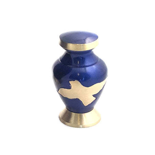 Blue Glossy Birds Flying Cremation Keepsake Urn (set of 4)