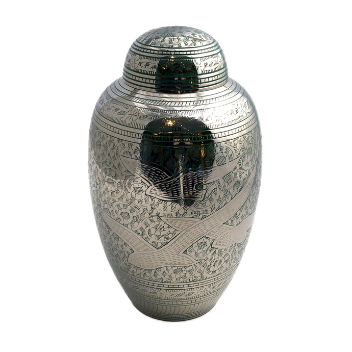 Green Engraved Birds Cremation Urn