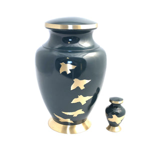Gray Mat Engraved Birds Flying Brass Keepsake Urn