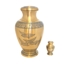 Load image into Gallery viewer, Engraved Brass Birds Keepsake Cremation Urn