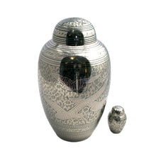 Load image into Gallery viewer, Green Engraved Birds Keepsake Cremation Urn (set of 4)