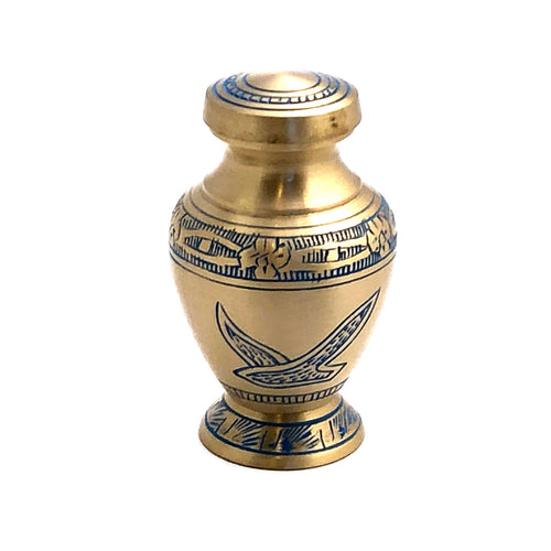 Engraved Brass Birds Keepsake Cremation Urn (set of 4)