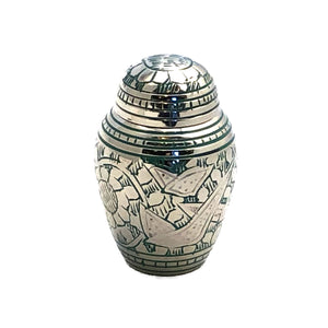 Green Engraved Birds Keepsake Cremation Urn (set of 4)