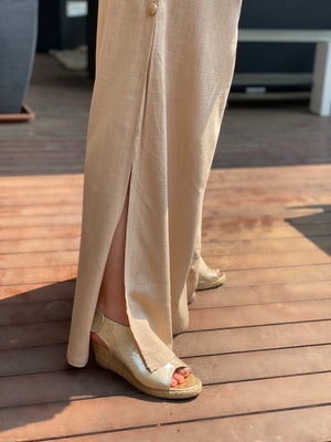 cotton and linen blend wide leg pants