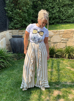 Riviera Striped Pants - Cream and Tan