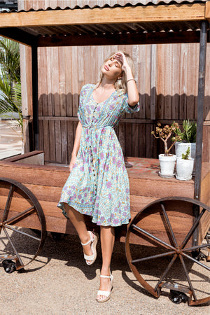 Java Midi Dress - Aqua and Lilac