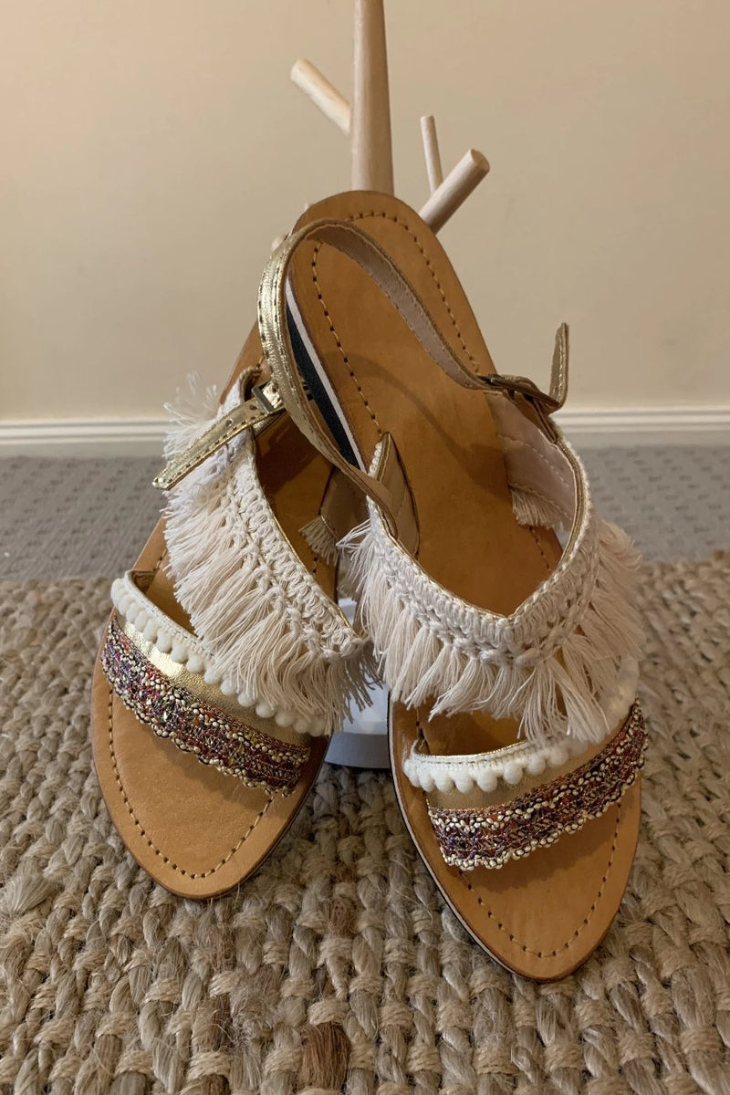Gold and Cream Beaded Slides - Anchor & Willow
