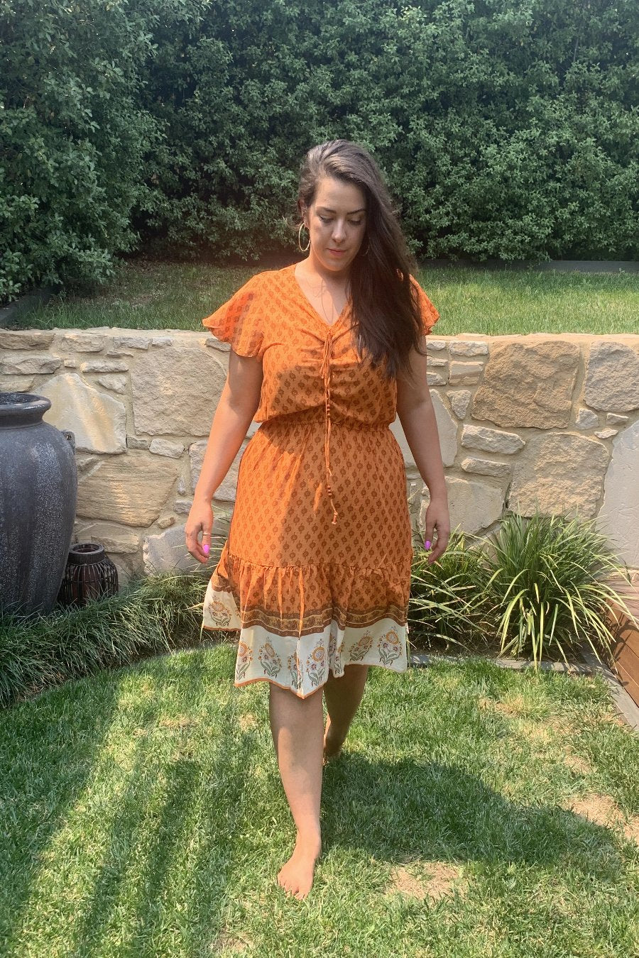 Sunset Midi Dress - Orange