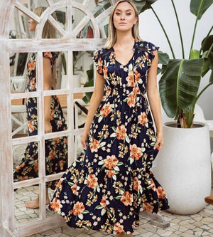 Solar Maxi Dress - Navy and Orange