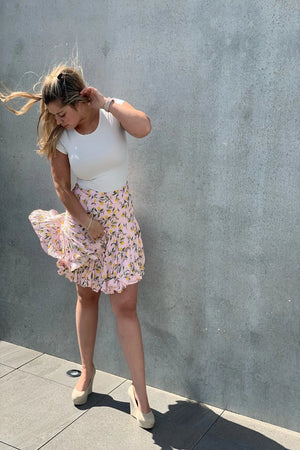 Sofia Mini Skirt - Pink Lemons