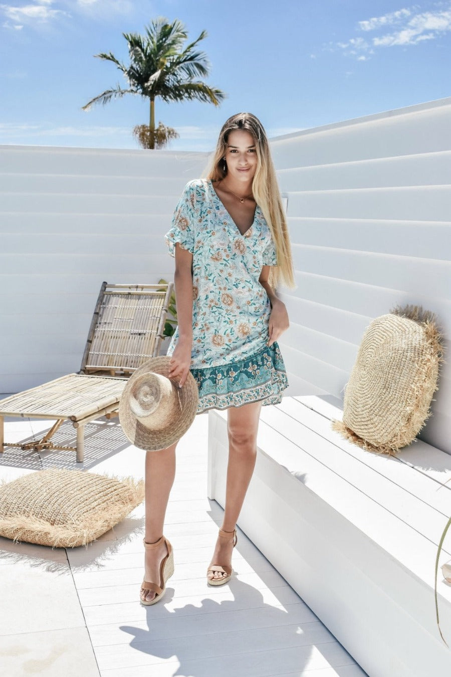 Isla Mini Dress - Boho Blue