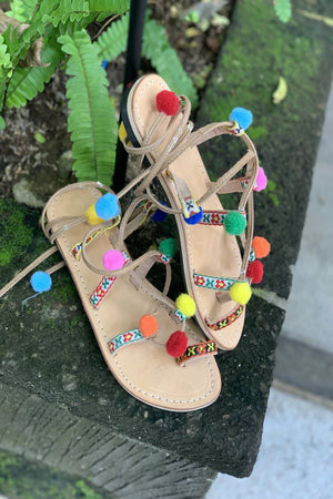 Pom Pom Ankle Wrap Sandals - Anchor & Willow