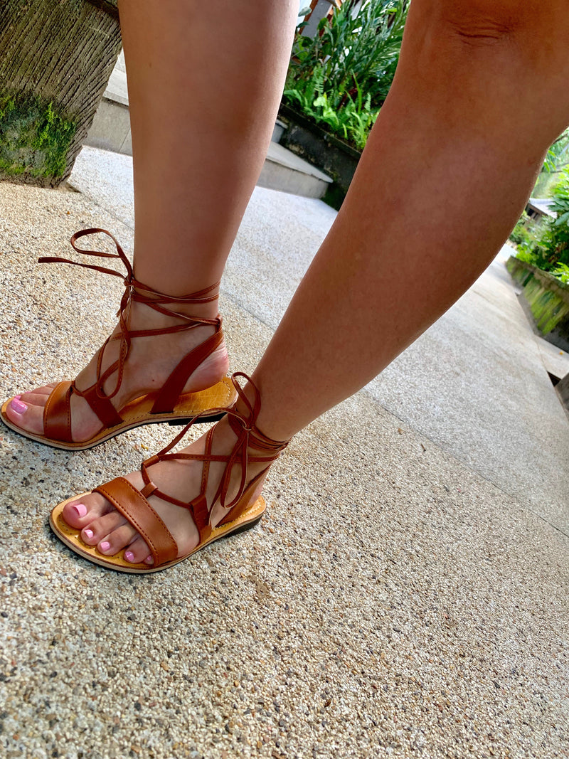 Tan Leather Ankle Wrap Sandals - Anchor & Willow