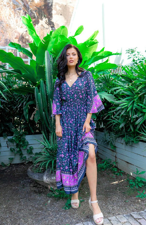 Panama Midi Dress - Purple