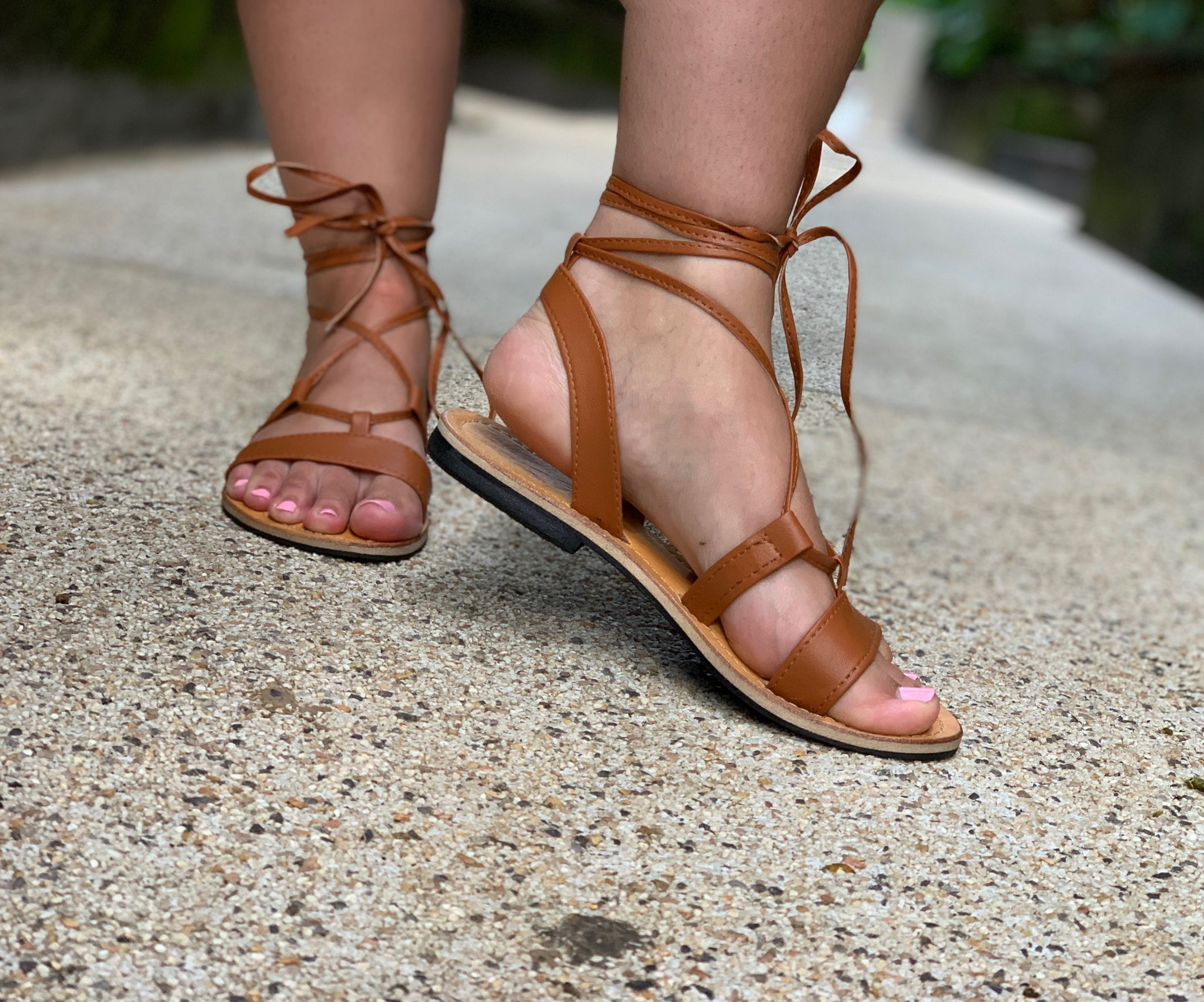 71e48fc4a78 Tan Leather Ankle Wrap Sandals – Anchor   Willow