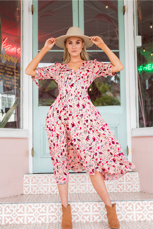 Placid Midi Dress - Pink