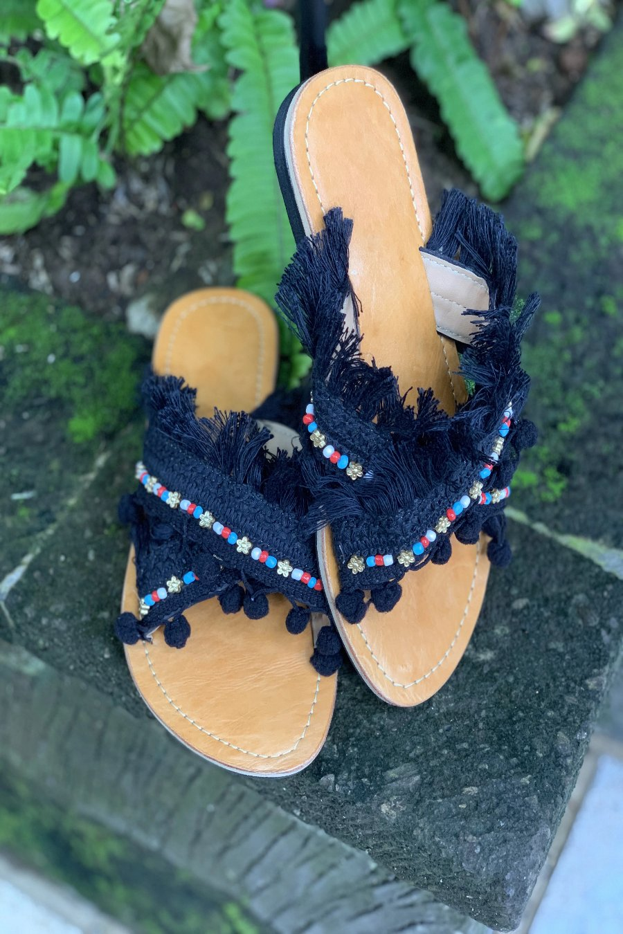 Tassel Criss Cross Slides - Anchor & Willow