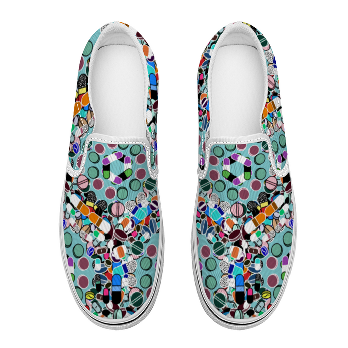 DTP Pill Pattern Canvas Slip On Shoes