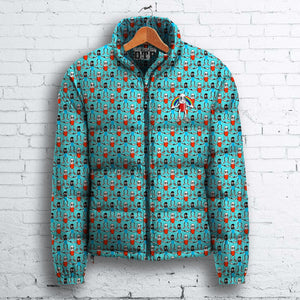 Blue Pillman Pattern Puffa Jacket