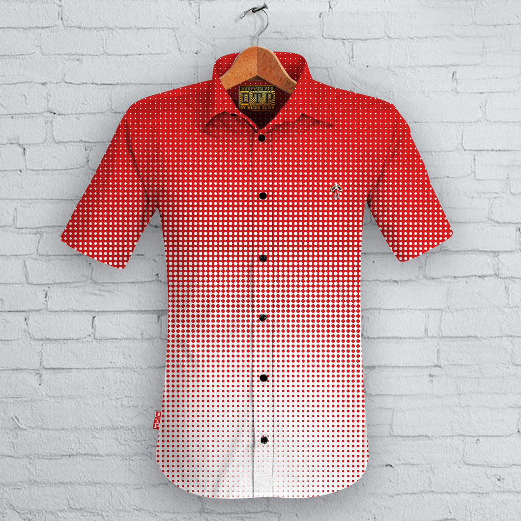 Red Halftone Short Sleeved Shirt