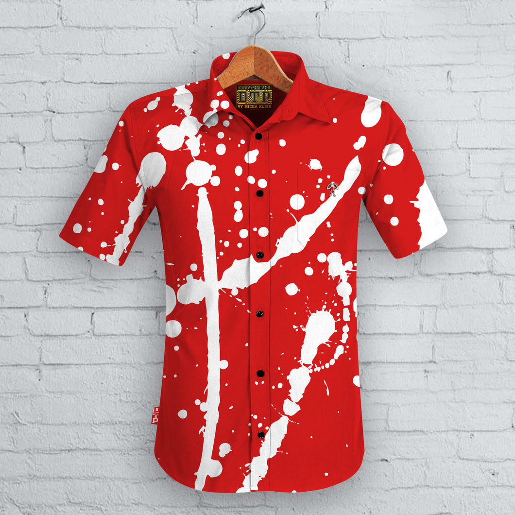 Red Splatter Short Sleeved Shirt
