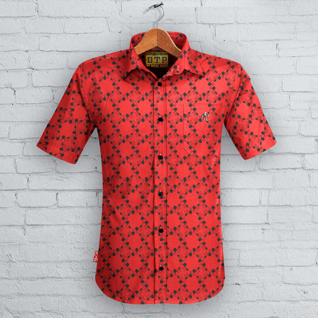 Red Pill Pattern Sleeved Shirt