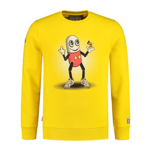 YELLOW PILLMOUSE CREWNECK SWEATSHIRT