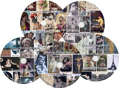 Lunagirl Collage CDs digital collage sheets vintage images
