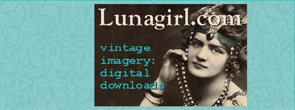 Lunagirl, vintage images, digital collage sheets, vintage ephemera, digital art downloads