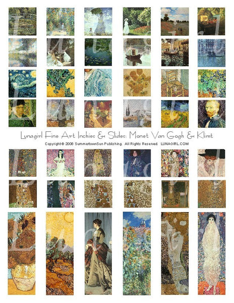 Fine Art Inchies & Slides Digital Collage Sheet: Monet Van Gogh & Klimt - Lunagirl