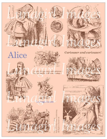 Alice Digital Collage Sheet (Apricot) - Lunagirl