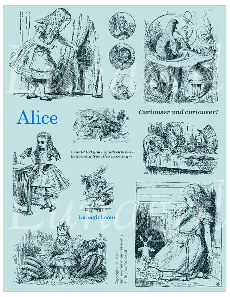 Alice Digital Collage Sheet (Aqua) - Lunagirl