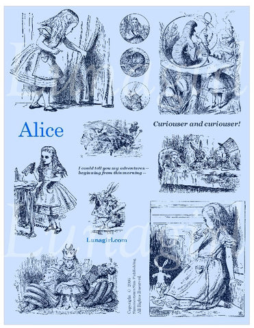Alice Digital Collage Sheet (Blue) - Lunagirl
