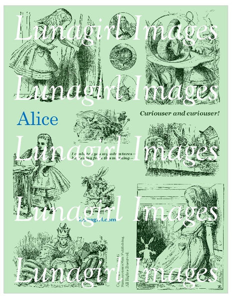 Alice Digital Collage Sheet (Green) - Lunagirl