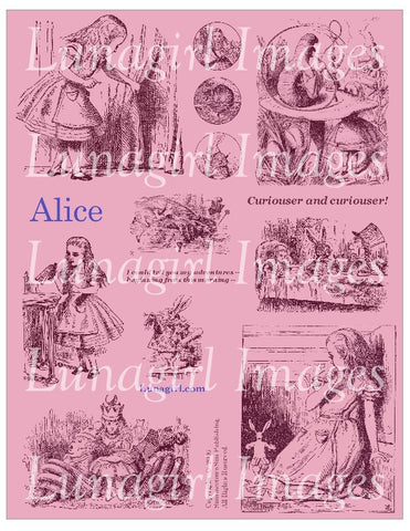 Alice Digital Collage Sheet (Magenta) - Lunagirl