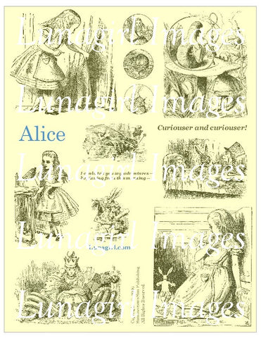 Alice Digital Collage Sheet (Yellow) - Lunagirl