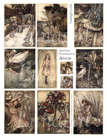 Alice in Wonderland Arthur Rackham Digital Collage Sheet - Lunagirl