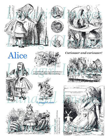 Alice Digital Collage Sheet (White) - Lunagirl