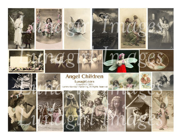 Angel Children Digital Collage Sheet - Lunagirl