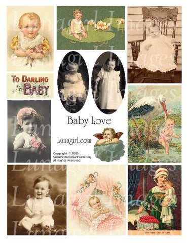 Baby Love Digital Collage Sheet - Lunagirl
