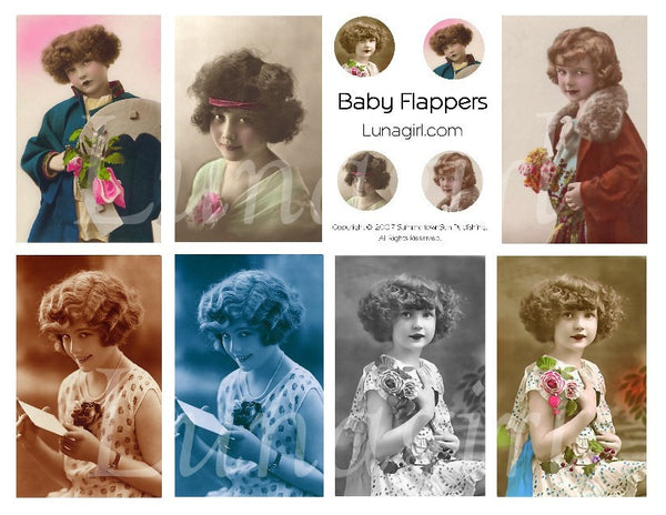 Baby Flappers Digital Collage Sheet - Lunagirl