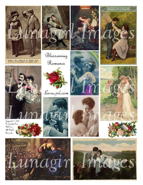 Blossoming Romance Digital Collage Sheet - Lunagirl