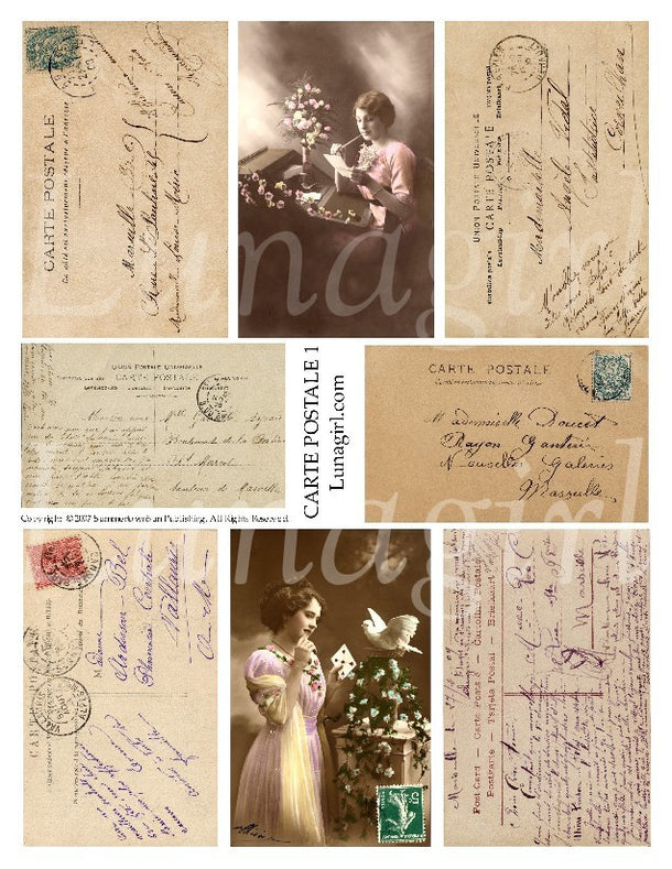 Digital Collage Sheets: Postcards Letters Stamps