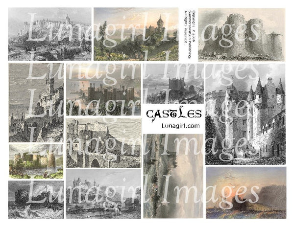 Castles Digital Collage Sheet - Lunagirl