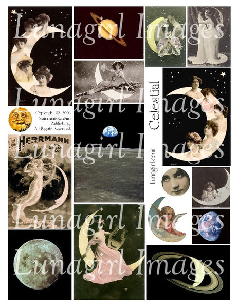 Celestial #1 Digital Collage Sheet - Lunagirl